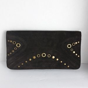 Banana Republic| Suede boho clutch with gold studs